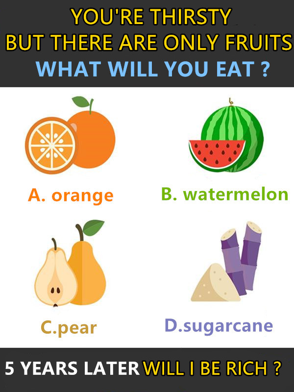 CHOOSE ONE FRUIT, TEST IF YOU WILL BE RICH AFTER FIVE YEARS.